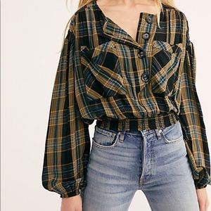 Free People Plaid Crop Top